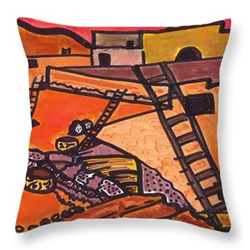 Throw Pillow featuring the drawing Acoma  by Don Koester