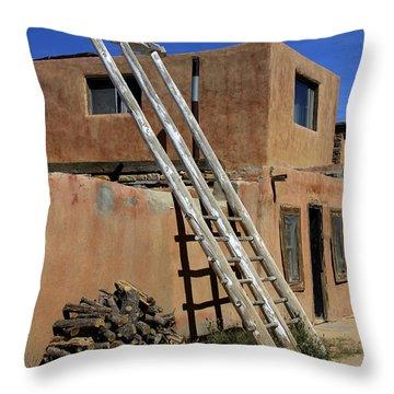 Acoma Pueblo Adobe Homes 3 Throw Pillow by Mike McGlothlen