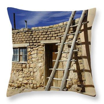 Acoma Pueblo Adobe Homes 4 Throw Pillow by Mike McGlothlen