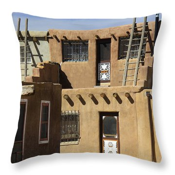 Acoma Pueblo Adobe Homes Throw Pillow by Mike McGlothlen
