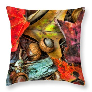 Acorns And Leaves Throw Pillow by Kenny Francis