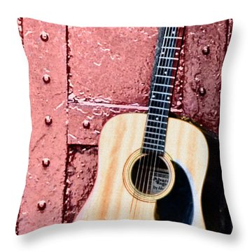 Acoustic Guitar And Red Door Throw Pillow by Bill Cannon