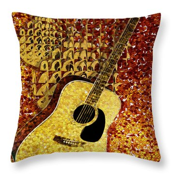Acoustic Guitar Throw Pillow by Jack Zulli