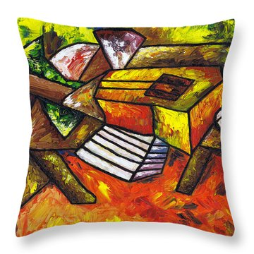Acoustic Guitar On Artist's Table Throw Pillow by Kamil Swiatek