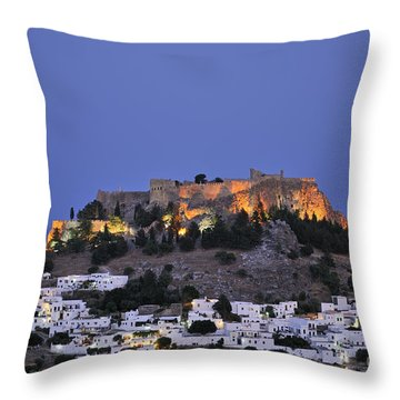 Acropolis And Village Of Lindos During Dusk Time Throw Pillow