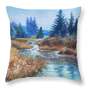 Across The Brook Throw Pillow by Joy Nichols