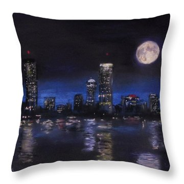 Across The Charles At Night Throw Pillow by Jack Skinner
