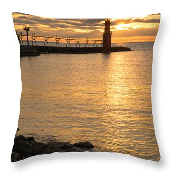 Across The Harbor Throw Pillow