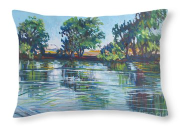 across the Joan Darrah Promenade Throw Pillow by Vanessa Hadady BFA MA