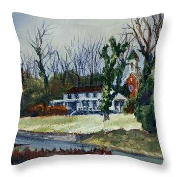 Across The Railroad Throw Pillow by Janet Felts