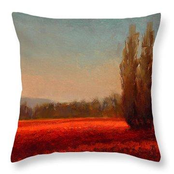 Across The Tulip Field - Horizontal Landscape Throw Pillow