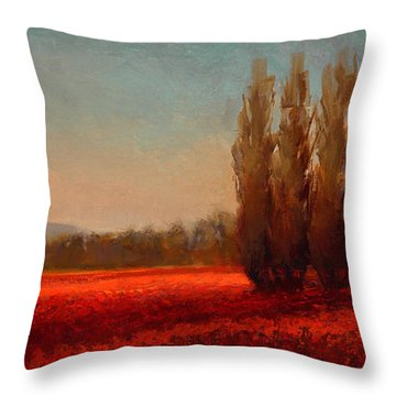 Across The Tulip Field - Horizontal Landscape Throw Pillow