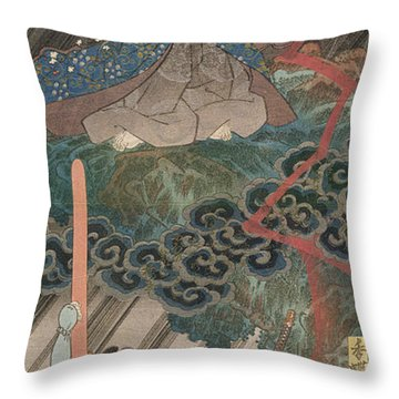 Actors Ichikawa Danjuro Vii As Kan Shojo Throw Pillow by Utagawa Kunisada