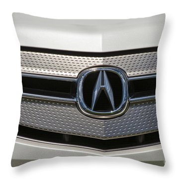 Acura Grill Emblem Close Up Throw Pillow by David Zanzinger