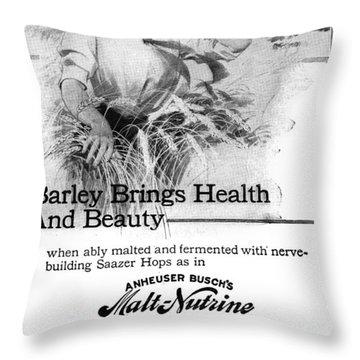 Ad Malt-nutrine, 1911 Throw Pillow