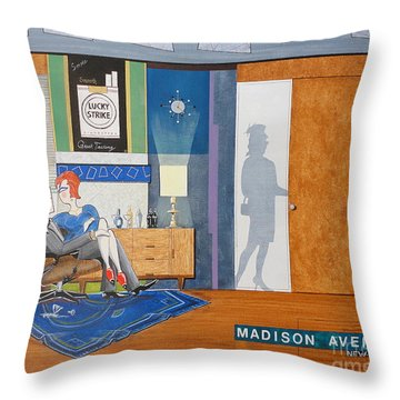 Ad Man Sitting In An Eames With Girl Friday Throw Pillow by John Lyes