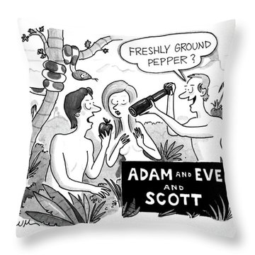 Adam And Eve And Scott Throw Pillow