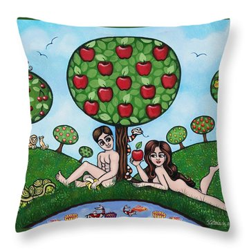 Adam And Eve The Naked Truth Throw Pillow
