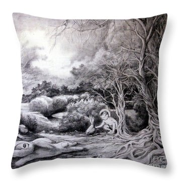 Adam In Heaven Throw Pillow by Mikhail Savchenko