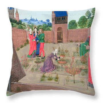 Add 19720 Fol.214 Walled Garden With A Woman Gardening And Others Gossiping, From Livre Des Throw Pillow