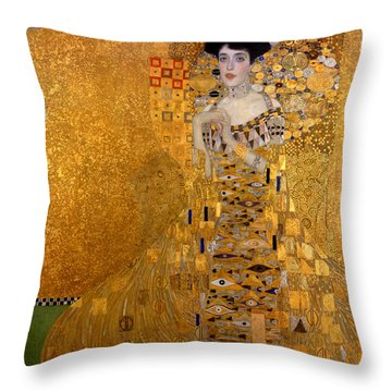 Adele Bloch Bauers Portrait Throw Pillow by Gustive Klimt