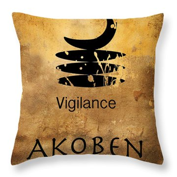 Adinkra  Akoben Throw Pillow by Kandy Hurley