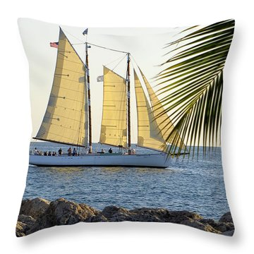 Sailing On The Adirondack In Key West Throw Pillow
