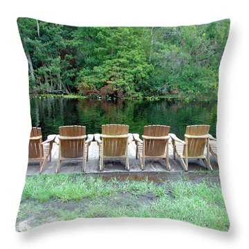 Adirondack Chairs By Lake Throw Pillow