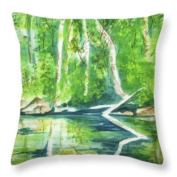 Throw Pillow featuring the painting Adirondack Zen by Ellen Levinson