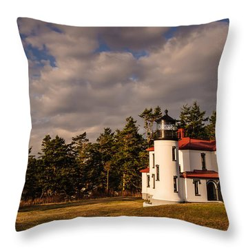 Admiralty Head Lighthouse Throw Pillow by Dan Mihai