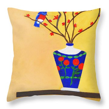 Admiring Bird Throw Pillow