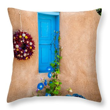 Adobe And Blue Throw Pillow