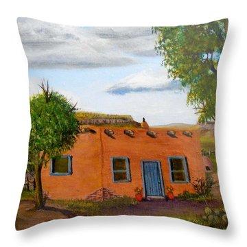 Adobe On The Prairie Throw Pillow by Sheri Keith