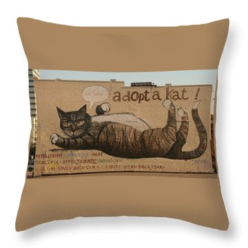 Adopt A Kat Or Me Now Throw Pillow by Blue Sky