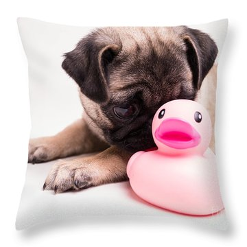 Adorable Pug Puppy With Pink Rubber Ducky Throw Pillow by Edward Fielding