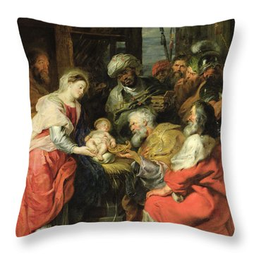 Adoration Of The Magi, 1626-29 Oil Canvas Throw Pillow