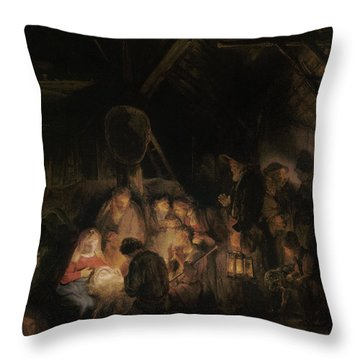 Adoration Of The Shepherds, 1646 Oil On Canvas Throw Pillow