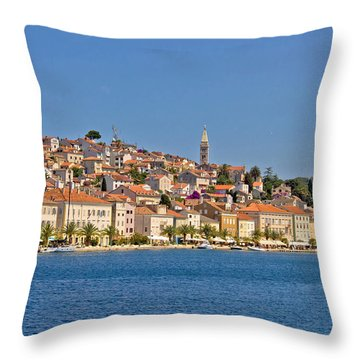 Adriatic Town Of Mali Losinj View From Sea Throw Pillow