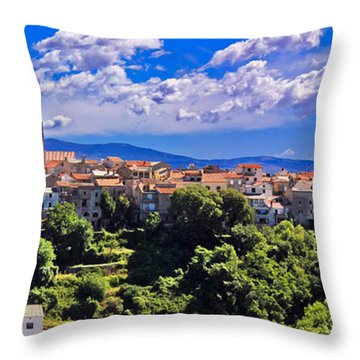 Adriatic Town Of Vrbnik Panoramic View Throw Pillow by Brch Photography
