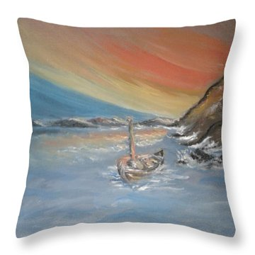 Throw Pillow featuring the painting Adrift by Teresa White