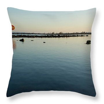 Adult Man With Surfboard Walking Throw Pillow