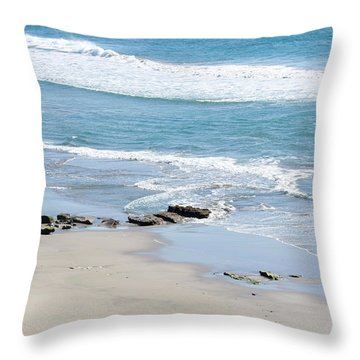 Adult Man Working On A Large Sand Throw Pillow