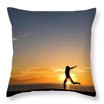 Adult Woman Dancing On The Beach Throw Pillow