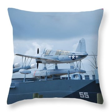 Battleship Advance Craft Throw Pillow by Bob Sample