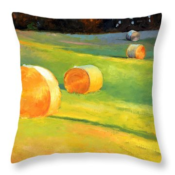 Advance Mills Hall Bales Throw Pillow