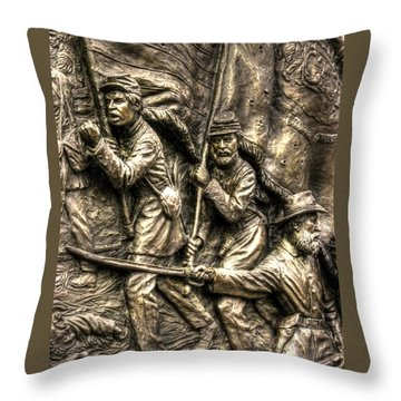 Advancing The Colors - State Of Delaware Monument Gettysburg Detail-a Autumn Mid-day Throw Pillow by Michael Mazaika