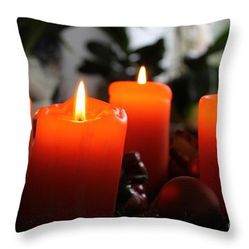 Advent Candles Christmas Candle Light Throw Pillow by Paul Fearn