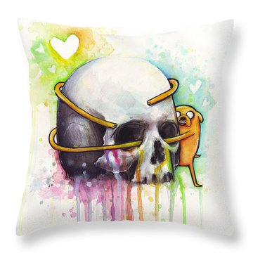 Adventure Time Jake Hugging Skull Watercolor Art Throw Pillow
