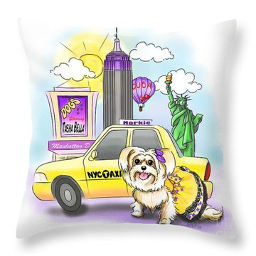 Adventures With The Manhattan Morkie Throw Pillow