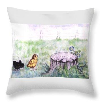 Adventurous Chicks Throw Pillow by Francine Heykoop